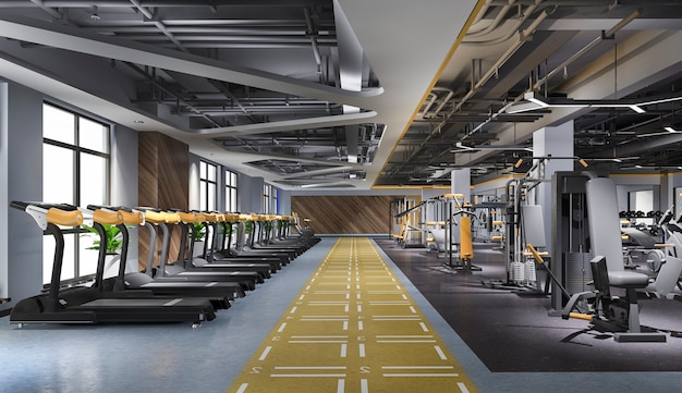 Modern loft gym and fitness
