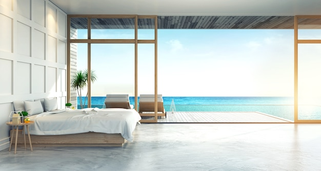 Modern loft interior of bedroom with panoramic sea view at villa,beach lounge