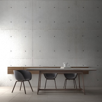 Modern loft interior design of dining room and minial table and chair and concrete wall