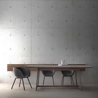 Современный дизайн интерьера мансарды столовой и мини-стола, стула и бетонной стены