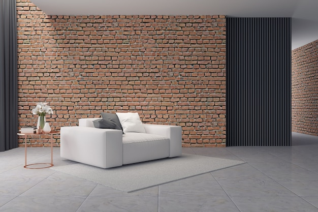Modern loft interior, white sofa on brick wall and concrete floor