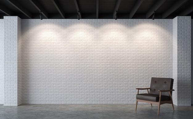 モダンなロフトのリビングルームの3dレンダリングそこに磨かれたコンクリートの床白いレンガの壁