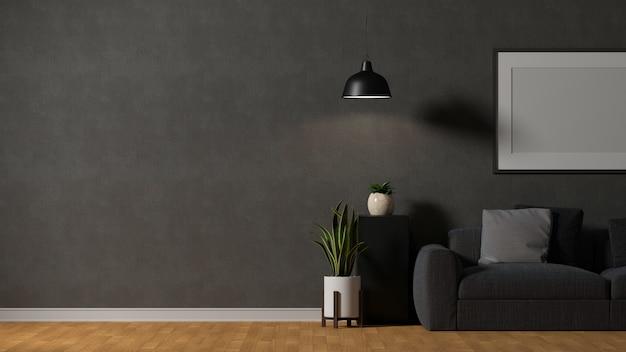 ソファテーブルランプフレーム装飾とコピースペースを備えたモダンなロフトリビングルームのインテリアデザイン