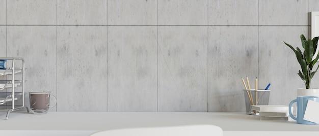 Современный чердак с белым столом, светлой кирпичной стеной и канцелярскими принадлежностями. 3d рендеринг, 3d иллюстрации