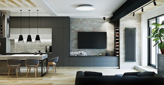 Современный интерьер квартиры в стиле лофт, частный дом