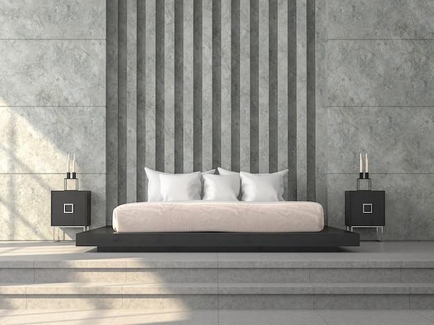 モダンなロフトスタイルのベッドルーム3dは、仮想の柱のパターンでコンクリートの壁をレンダリングします