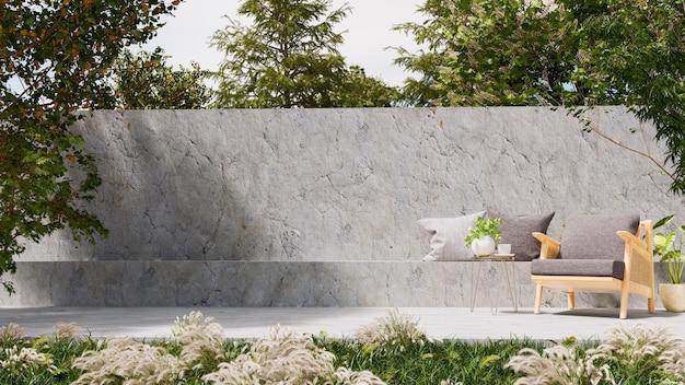 야외 좌석 공간, 3d 렌더링을위한 현대 로프트 스타일의 콘크리트 안뜰