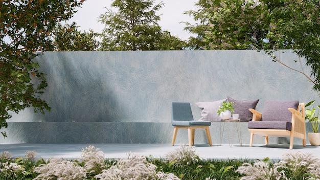 야외 좌석 공간, 3d 렌더링을위한 현대 로프트 스타일의 콘크리트 파티오
