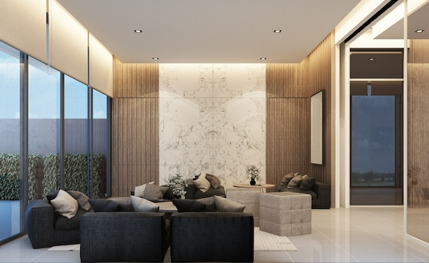 Modern loft waiting area mainhall design with wooden texture in apartment or condominium 3d rendering
