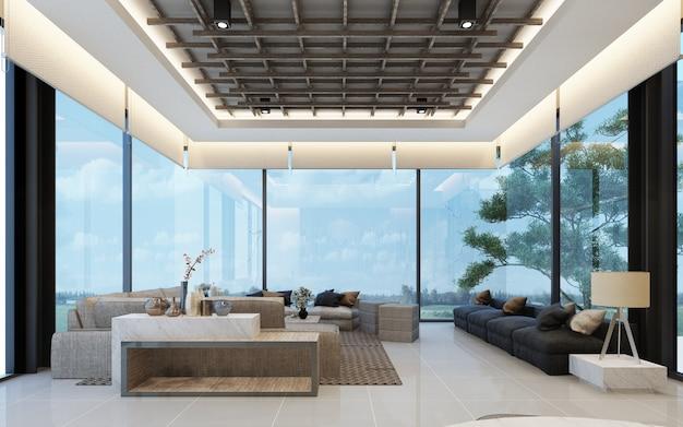 Современный дизайн зала ожидания в лофте с деревянной текстурой в квартире или кондоминиуме 3d-рендеринг