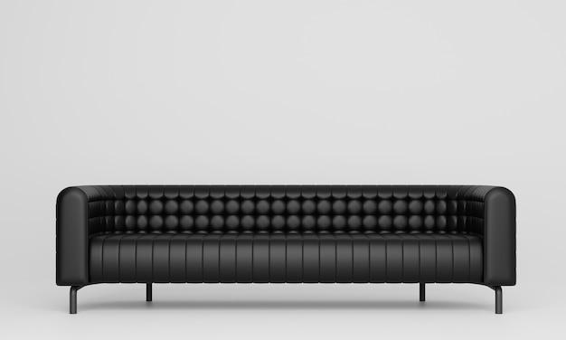 白いリビングルームのモダンな長い黒いソファ。 3dレンダリング。