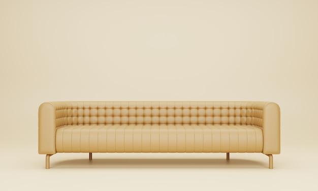 リビングルームのモダンな長い明るい茶色のソファ。 3dレンダリング。