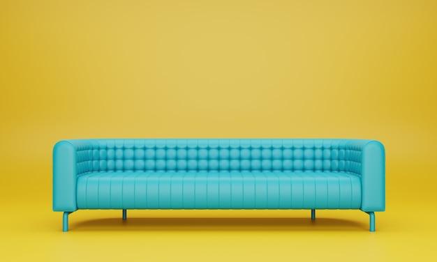 黄色のリビングルームのモダンな長いミントブルー色のソファ。 3dレンダリング。
