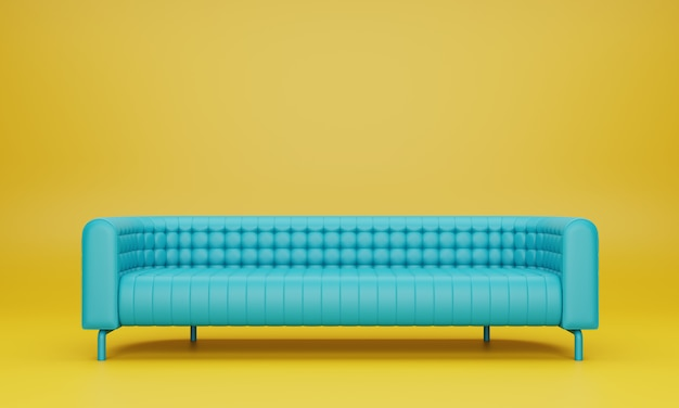 Modern long mint blue color sofa in yellow living room. 3d render.