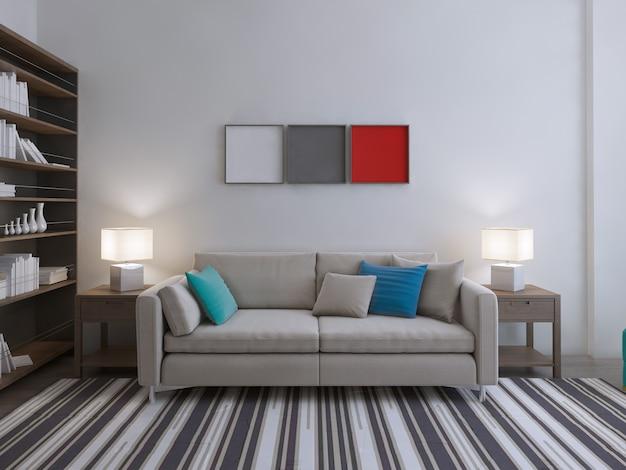 현대적인 라운지 룸 아이디어와 책장이있는 큰 방의 벗겨진 카펫에 컬러 베개가있는 소파.
