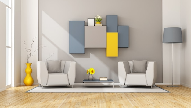 Modern lounge with two armchair and wall unit on wall