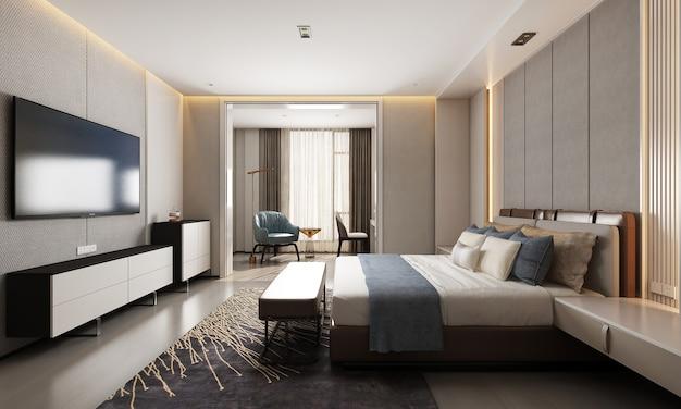 현대 고급스럽고 아늑한 침실 인테리어 장식 3d 렌더링