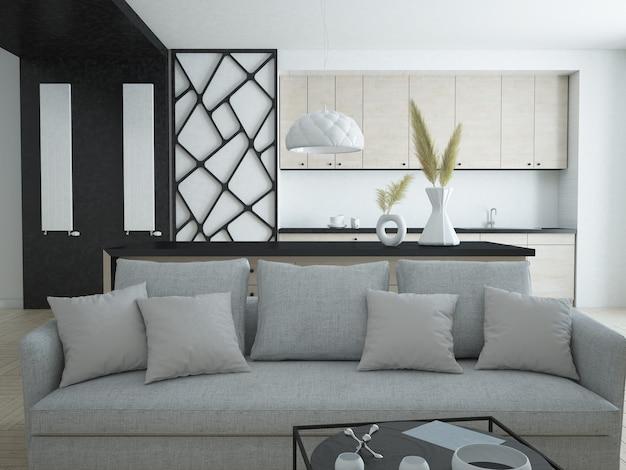 주방을 갖춘 현대적인 고급 아파트 거실