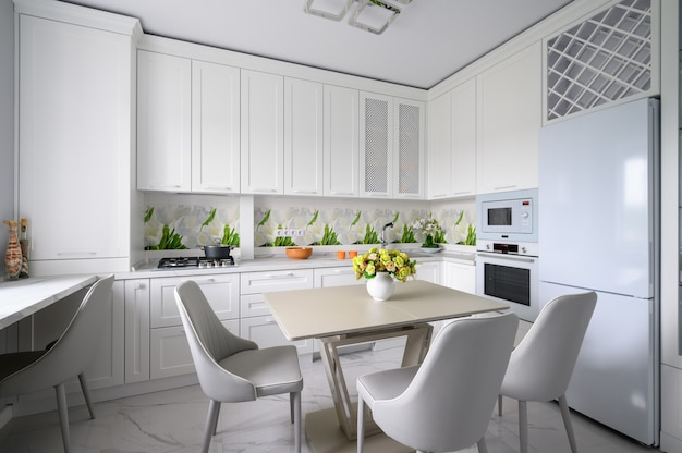 Modern luxurious kitchen and dining room