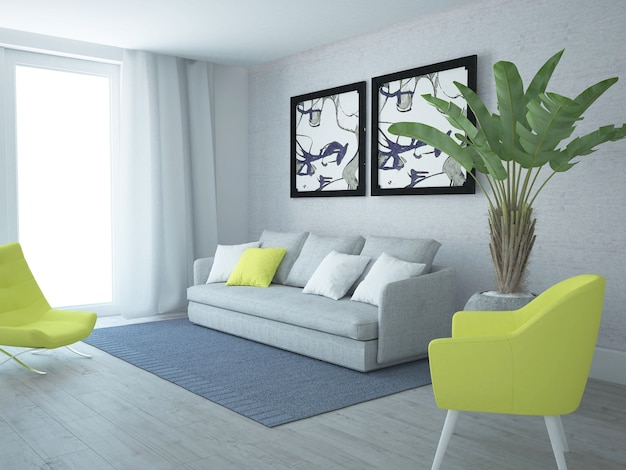Modern luxurious living room with yellow chairs