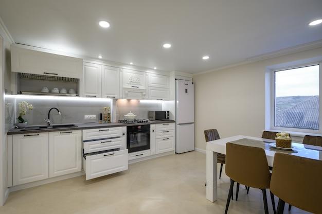 Modern luxurious white kitchen interior