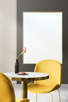 Современный роскошный аутентичный дизайн интерьера столовой с пустой рамкой для фотографий