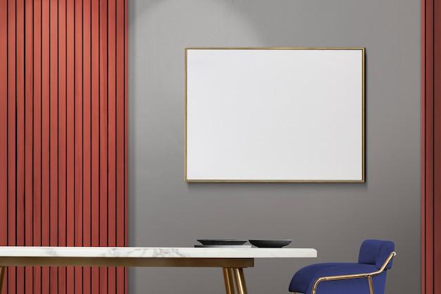 空白の額縁とモダンで豪華な本格的なダイニングルームのインテリアデザイン