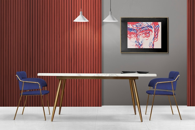 Interior design di lusso moderno e autentico della sala da pranzo con cornice