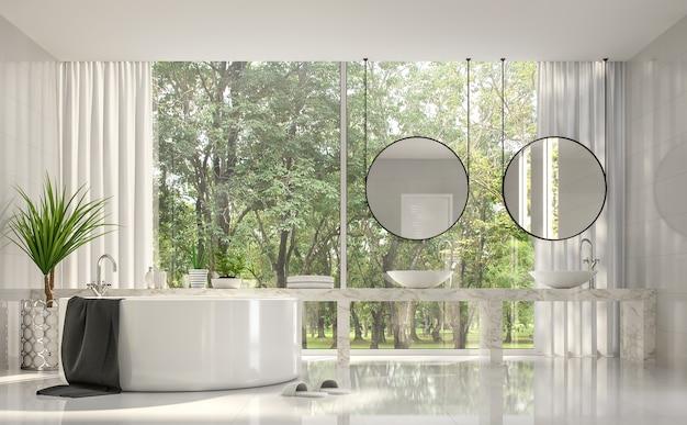 현대적인 고급 욕실 3d 렌더t외부 자연 경관을 볼 수 있는 큰 창문이 있습니다.