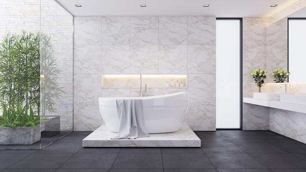 Современный роскошный дизайн ванной комнаты, белая комната, белая ванна на мраморной стене, 3d визуализация