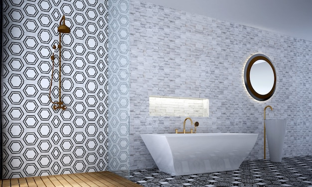 Modern luxury bathroom interior and furniture decoration and white tile wall pattern background