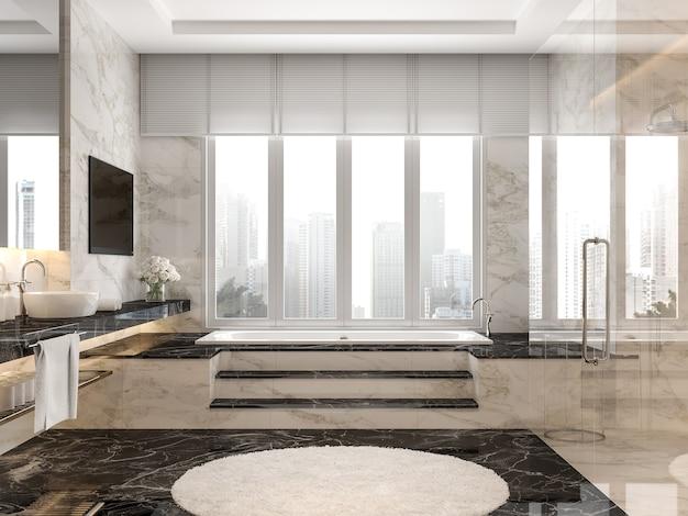 Современная роскошная ванная комната с мраморной плиткой 3d-рендеринга, большие окна с видом на город