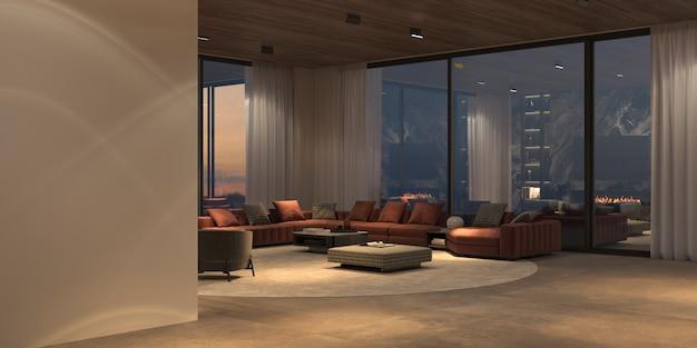 パノラマの窓と自然の景色、石の床、白い壁、木の天井を備えた、モダンで豪華な美しいインテリア。夜間照明付きのミニマルなデザインのダイニングとリビング ルーム。 3 d レンダリングの図。