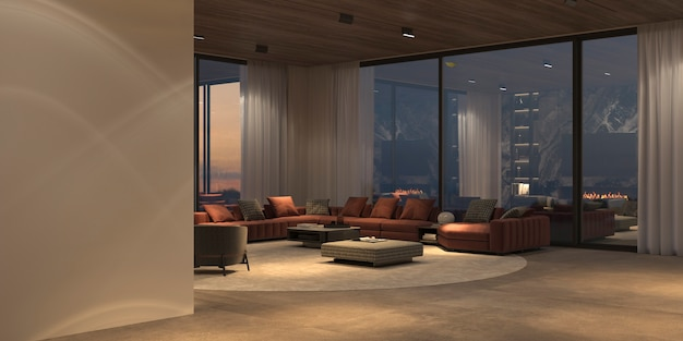 Modern luxury beautiful interior with panoramic windows and nature view, stone floor, white wall and wooden ceiling. minimal design dining and living room with night lighting. 3d render illustration.