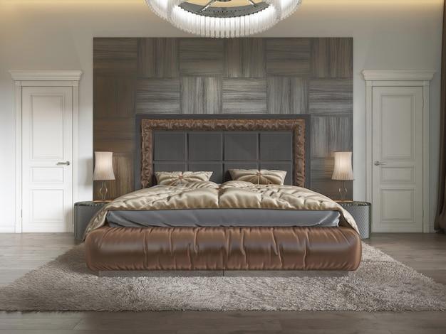 퀼트와 쪽모이 세공 마룻바닥이 있는 아르데코 스타일의 현대적인 고급 침대. 브라운 컬러의 침실. 3d 렌더링.