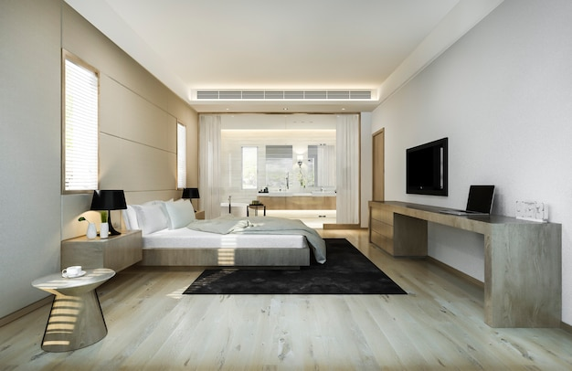 Modern luxury bedroom suite and bathroom with working table