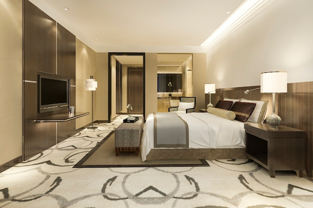 Modern luxury bedroom suite and bathroom