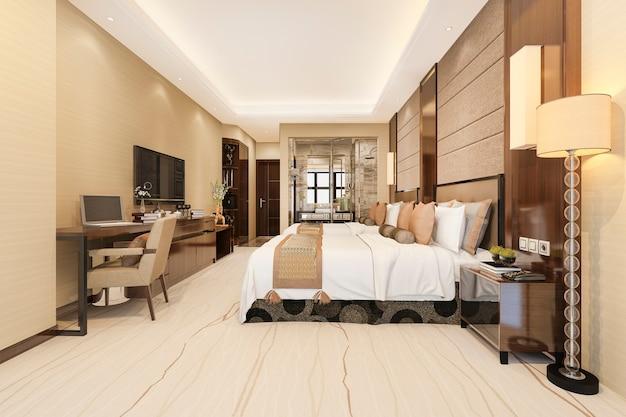 Modern luxury bedroom suite and bathroom