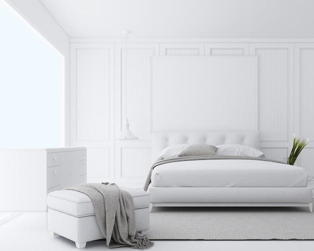 Современная роскошная спальня с классической отделкой стен и белой мебелью 3d визуализации