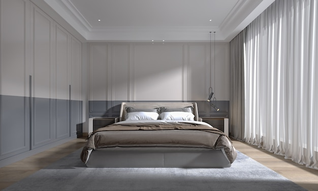 Modern luxury classic bedroom with daylight from large window