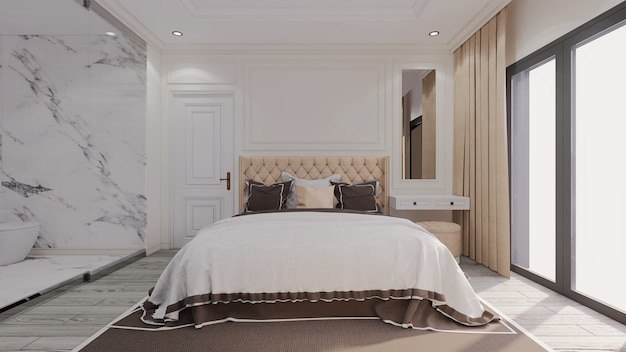 Modern luxury classic bedroom with see through bathroom beside