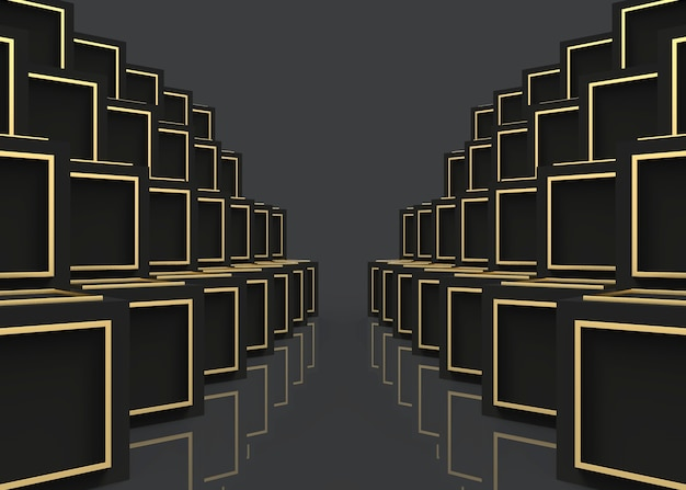 다크 큐브 상자에 현대 럭셔리 골든 프레임 스택 행 벽 배경.