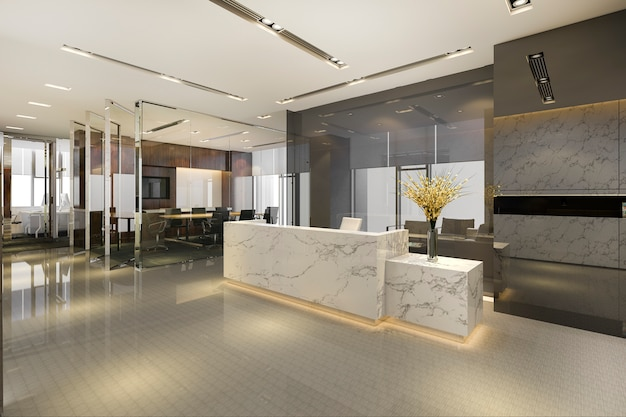 회의실 의자가있는 현대적인 고급 호텔 및 사무실 리셉션 및 라운지