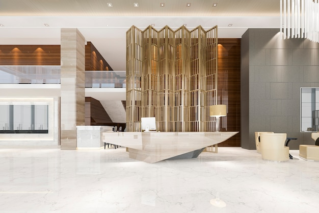 현대적인 고급 호텔과 사무실 리셉션 및 회의실 의자가있는 라운지