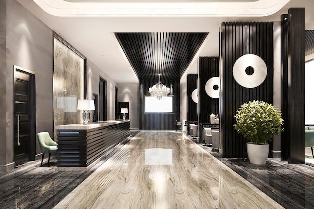 モダンな高級ホテルとオフィスのレセプションとラウンジ