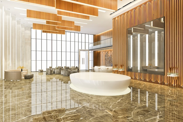 モダンな高級ホテルとオフィスのレセプションとミーティングラウンジ