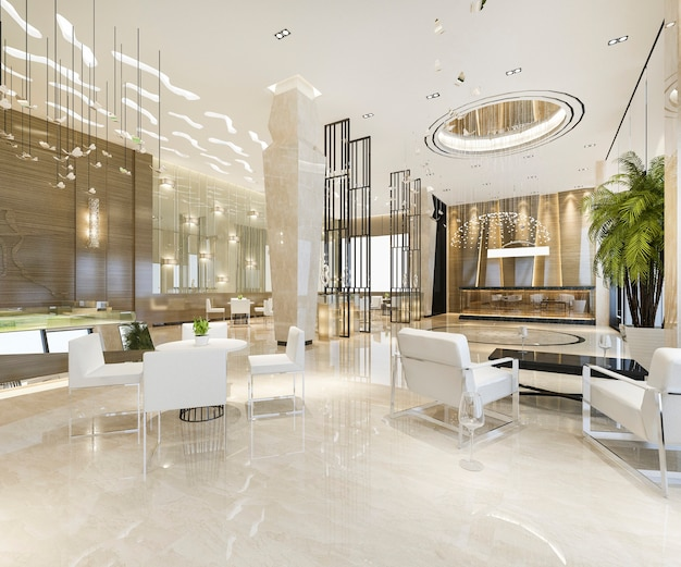 Modern luxury hotel and office reception and lounge  hall