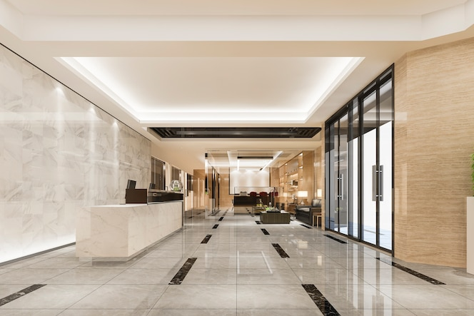 Modern luxury hotel and office reception and lounge with meeting room