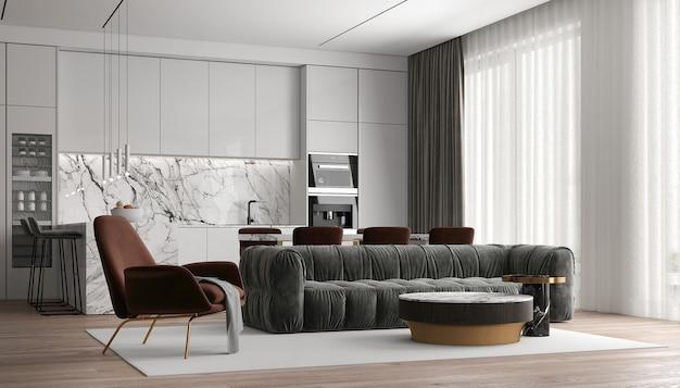 현대 럭셔리 하우스와 아늑한 거실과 벽 질감 배경의 인테리어 디자인