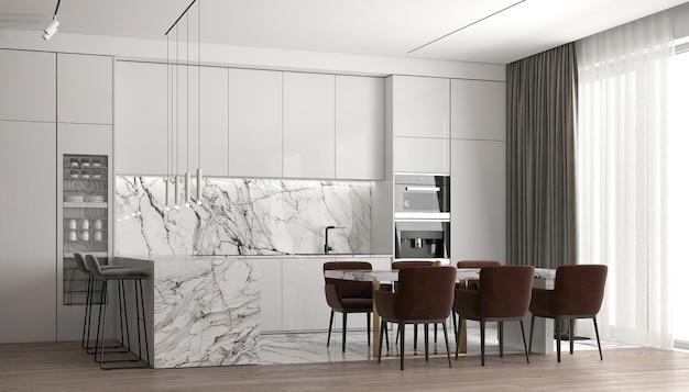 현대 럭셔리 하우스와 식당 및 식료품 저장실 및 주방 공간 및 벽 질감 배경의 인테리어 디자인